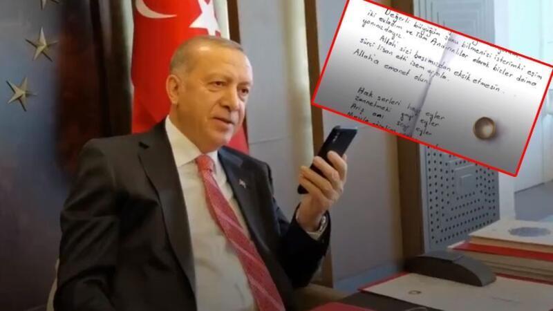 Cumhurbaşkanı Erdoğan, Milli Dayanışma Kampanyası'na yüzüğünü bağışlayan vatandaşla görüştü