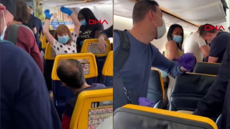 İngiltere'de Lizbon uçuşunda sosyal mesafe tepkisi