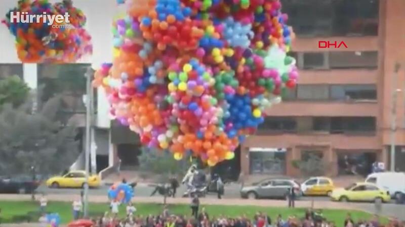 Dünyanın en kısa adamını balonlarla uçurdular
