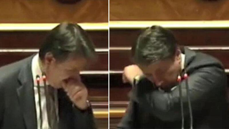 İtalya Başbakanı Conte'nin öksürük krizine 'Maske tak' tepkisi