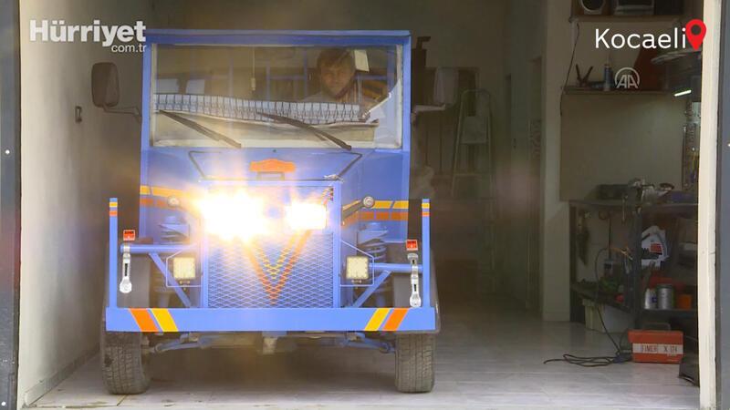 Fabrika işçisi hurda malzemeden kamyonet yaptı