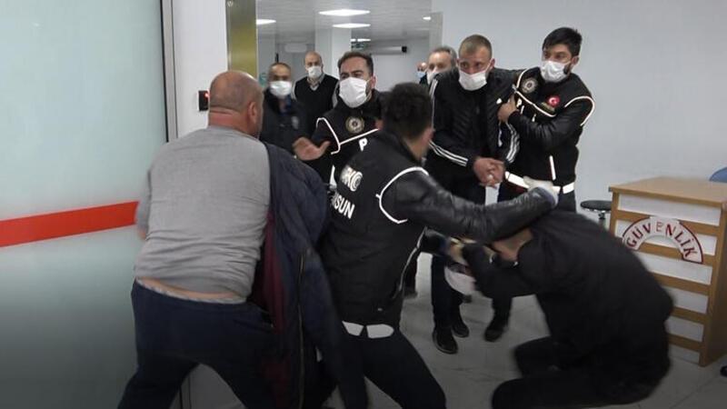 Hastanede katile saldırıyı polis önledi