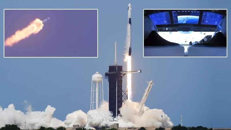 Son dakika... SpaceX'in ilk insanlı 'Crew Dragon' isimli uzay mekiği böyle fırlatıldı