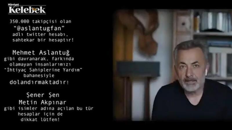 Oyuncu Mehmet Aslantuğ, çektiği video ile takipçilerini sosyal medyada adına açılan sahte hesaplara karşı uyardı.