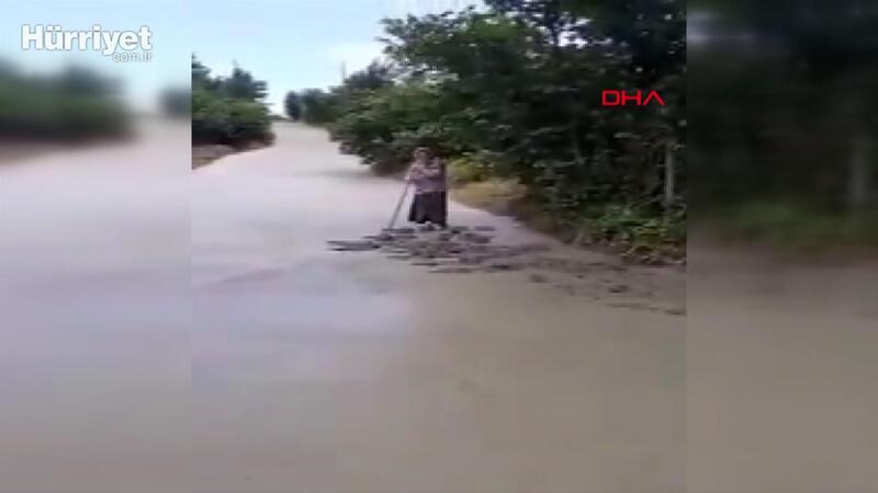 Giresun'da yola dökülen betonu tahrip eden  kadına soruşturma