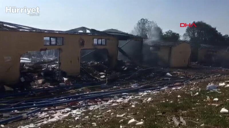 Patlama sonrası havaifişek fabrikası merkezinden görüntüler