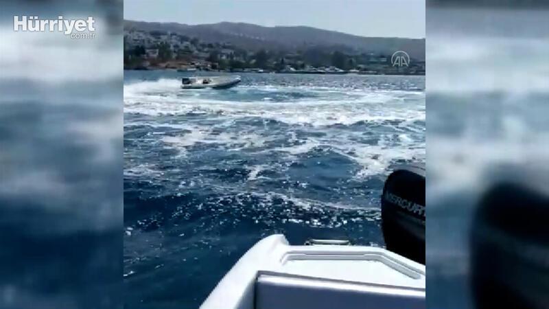 Bodrum'da kaptanı denize düşen sürat botunun etrafında dönmesi kameraya yansıdı