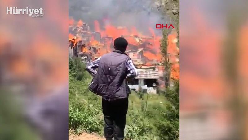 Yusufeli'nde çıkan yangın evlere sıçradı