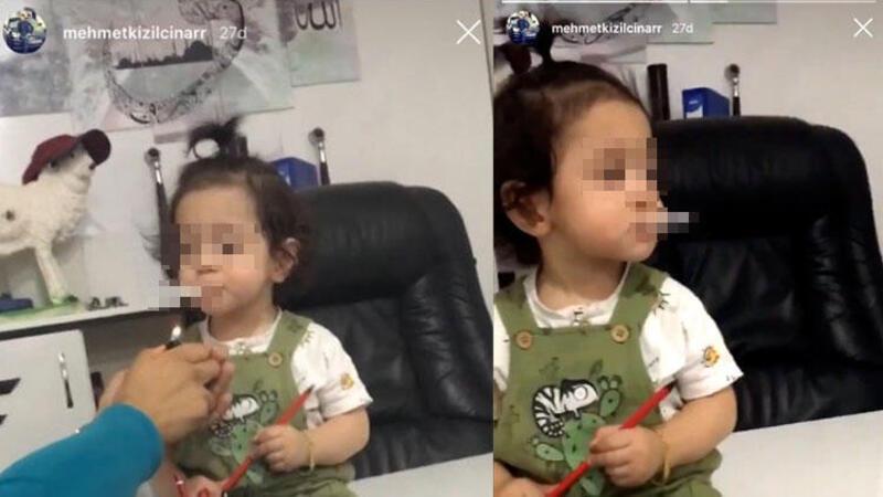 Bir skandal görüntü daha! Bu kez küçük çocuğa 'babası' sigara içirdi…