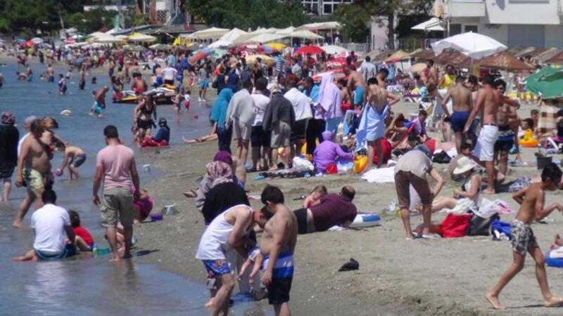 Silivri plajları tıklım tıklım