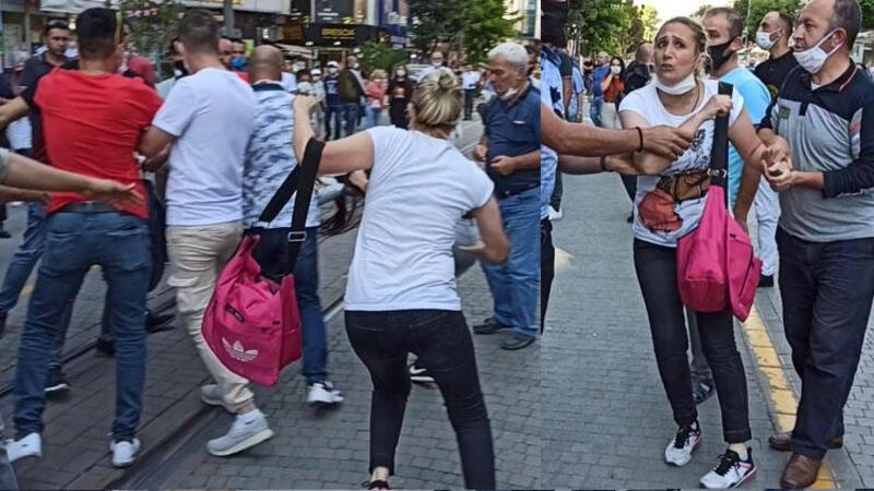 Boşandığı kocasının yeni eşini yolda görünce saldırdı