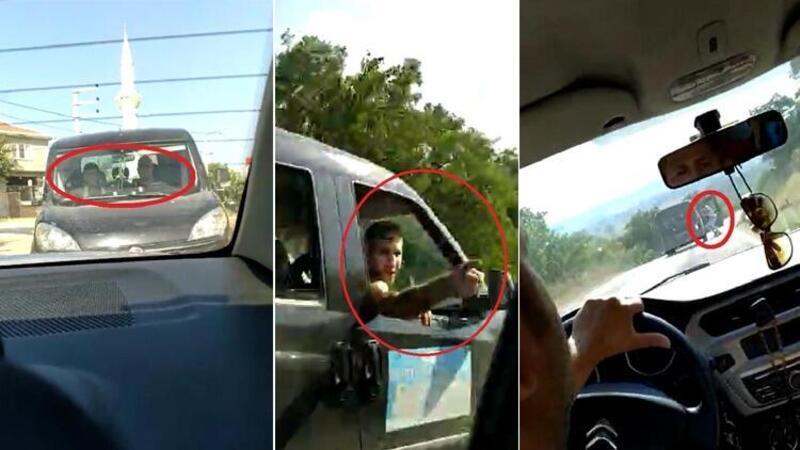 Trafikte korku dolu kovalamaca! O anları böyle görüntülediler