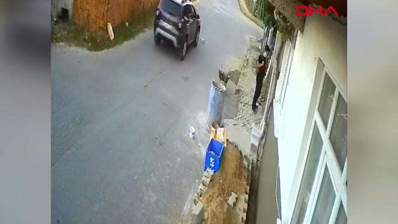 Arnavutköy'de kediyi ezen sürücü kamerada