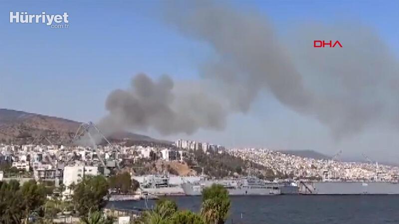 Son dakika haber... İzmir Bayraklı'da orman yangını