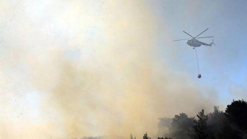 İzmir'de mahalle yakınında orman yangını
