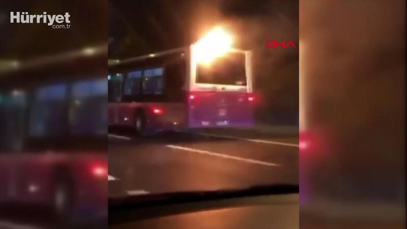 İstanbul'da alev alan yolcu otobüsü yoluna böyle devam etti