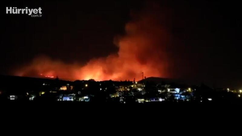 İzmir Çeşme'deki yangını böyle görüntülendi