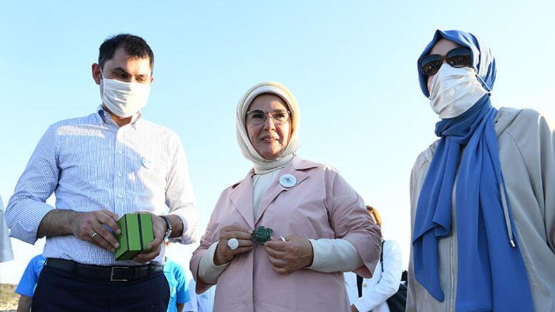 Emine Erdoğan ve Bakan Kurum, tedavisi tamamlanan kaplumbağaları denize uğurladı