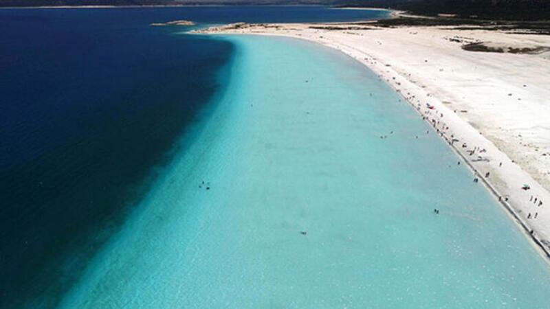 Arslantaş,Salda Gölü'nün güzelliğini ve ziyaretçilerin göle ilgisini gösteren video paylaştı