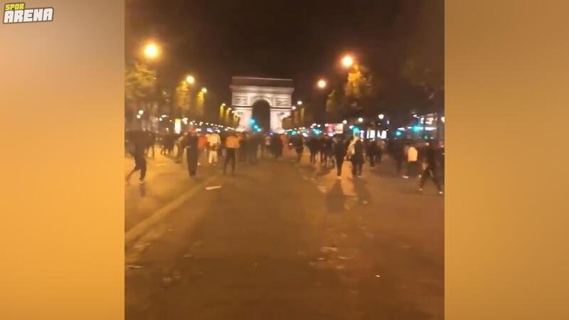 PSG kaybedince bazı Fransız taraftarlar Paris sokaklarını karıştırdı!