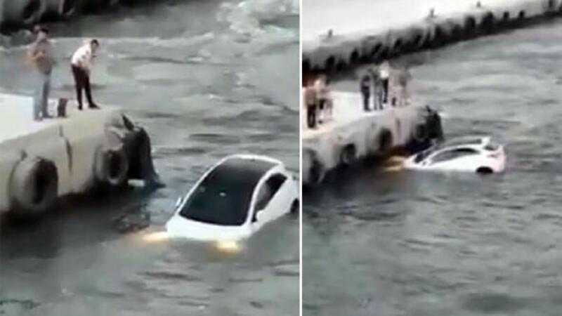 Çanakkale Biga'da otomobil denize düştü