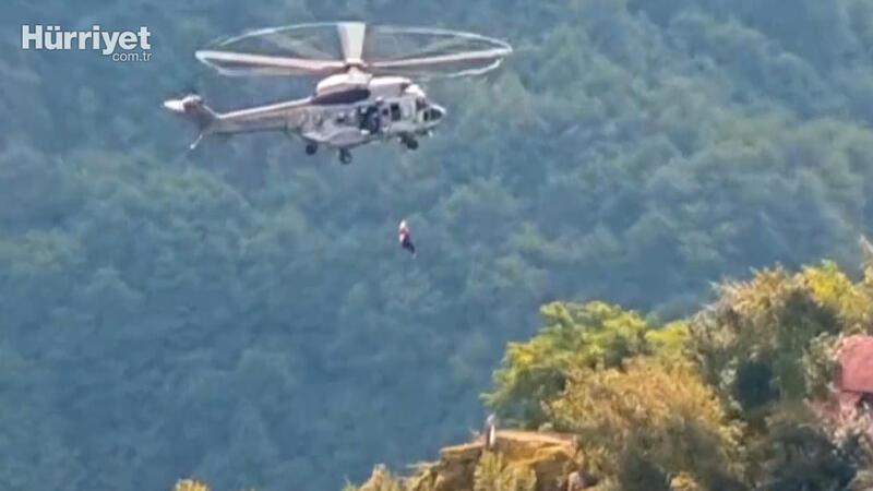 Selde mahsur kalan 2'si engelli 6 kişi helikopterle kurtarıldı