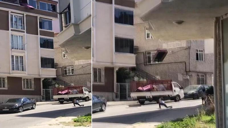 Arnavutköy'de akıl almaz görüntü; 5. kattan koltuğu böyle yere attılar