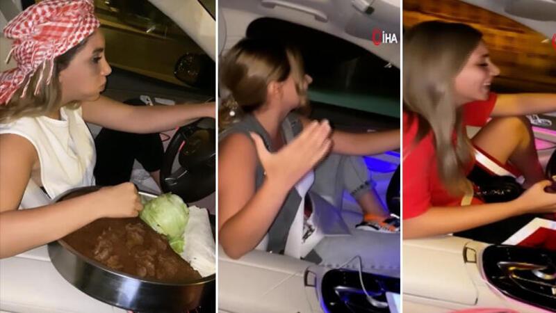 """İstanbul trafiğinde """"çiğ köfteli"""" kadın trafik magandası kamerada"""