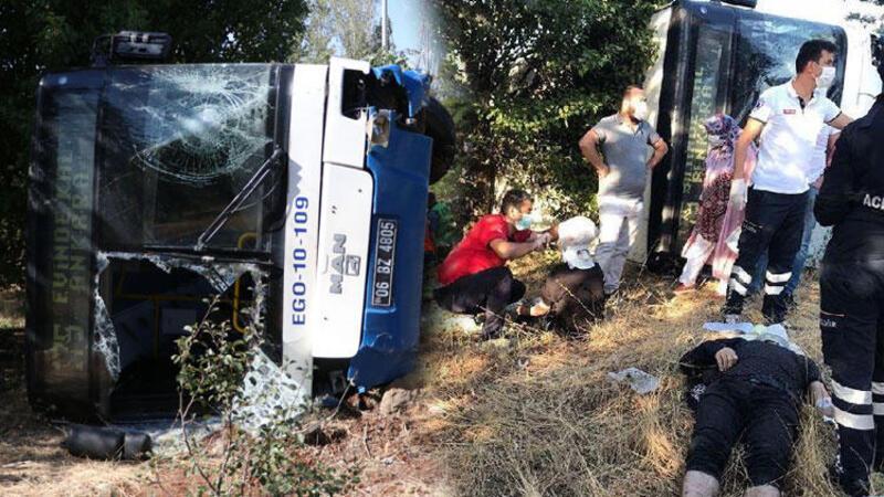 Ankara'da belediye otobüsü devrildi