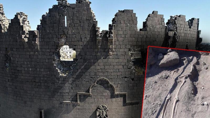 Diyarbakır surlarında Orta Çağ'a ait insan iskeletleri bulundu