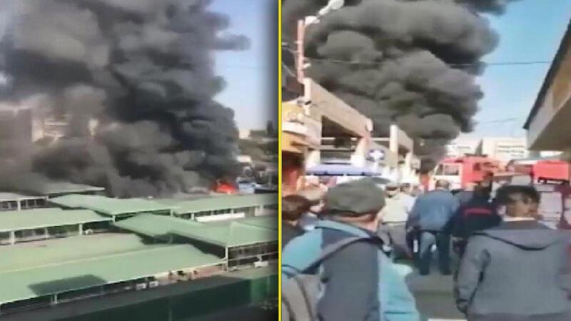 Rusya'da marketlerin bulunduğu bölgede yangın