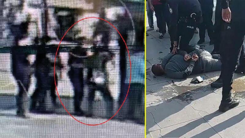 Tacizcinin polise kafa atıp yakalandığı anlar kamerada