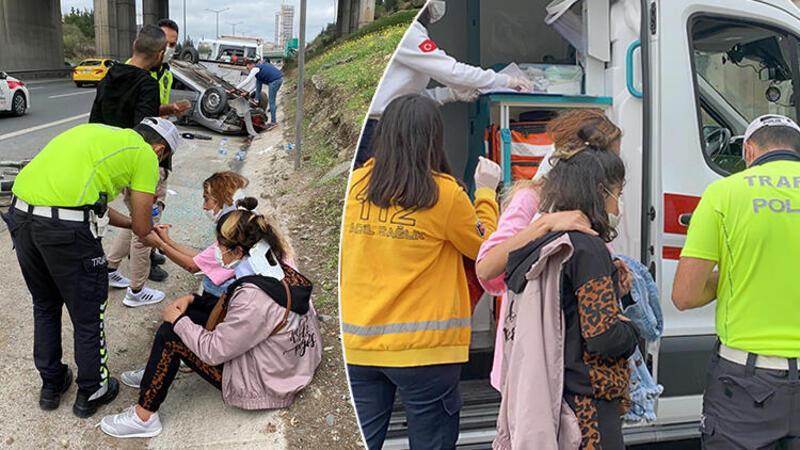 Ataşehir'de sürücüsünün direksiyon hakimiyetini kaybettiği otomobil takla attı