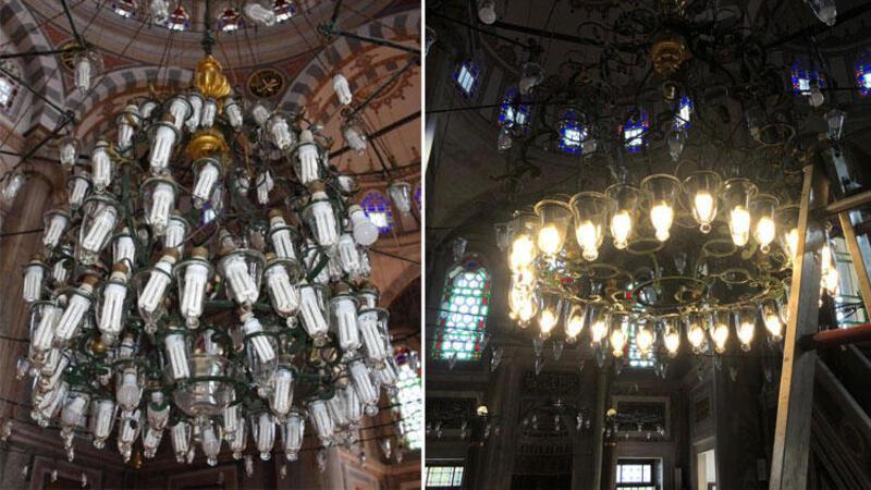 Laleli Camii'nin avizesine takılan tasarruflu ampuller tartışmaya neden oldu