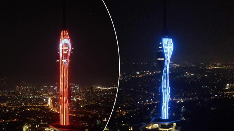 İstanbul'da Çamlıca Kulesi'ndeki ışık gösterisi görsel şölen oluşturdu