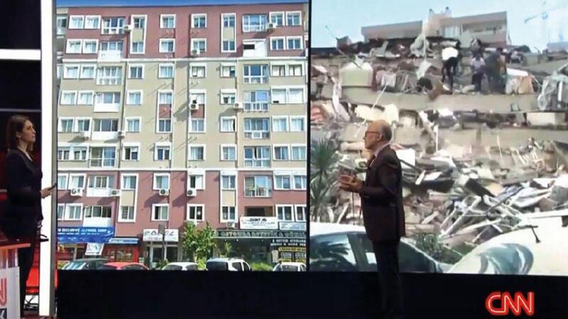 İzmir'de yıkılan 8 katlı binanın eski ve yeni hali depremin şiddetini ortaya çıkarıyor