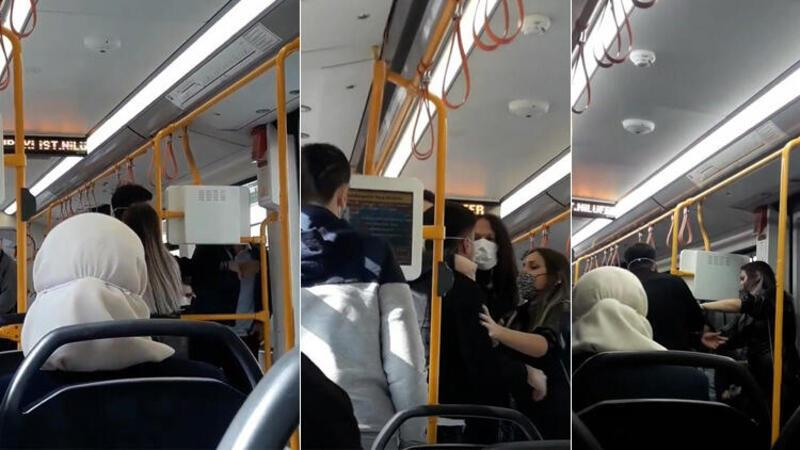 """Metroda """"neden sarılıyorsun"""" kavgası"""