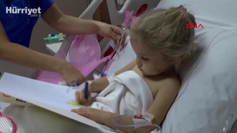 Mucize kurtuluşun sembolü Elif hastane odasında resim yaptı