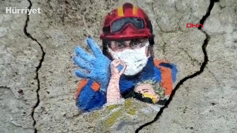 Minik Elif'in enkazdan kurtarılış anını, duvara resmetti