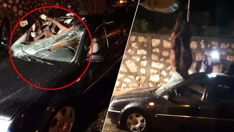 Kazada otomobilin ön camından giren at telef oldu, 2 kişi yaralandı