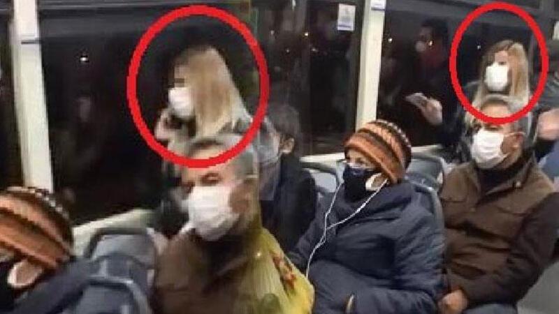 Ankara'da belediye otobüsünde 'koronavirüs' paniği kamerada