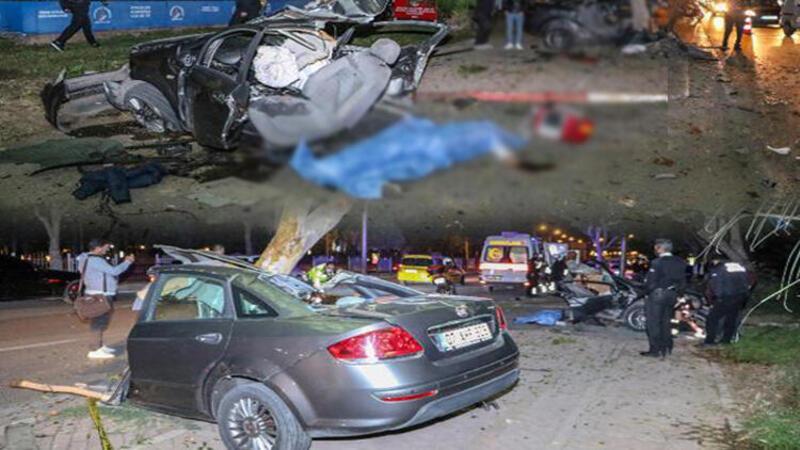 Makas atan otomobil ağaca çarparak ortadan ikiye ayrıldı