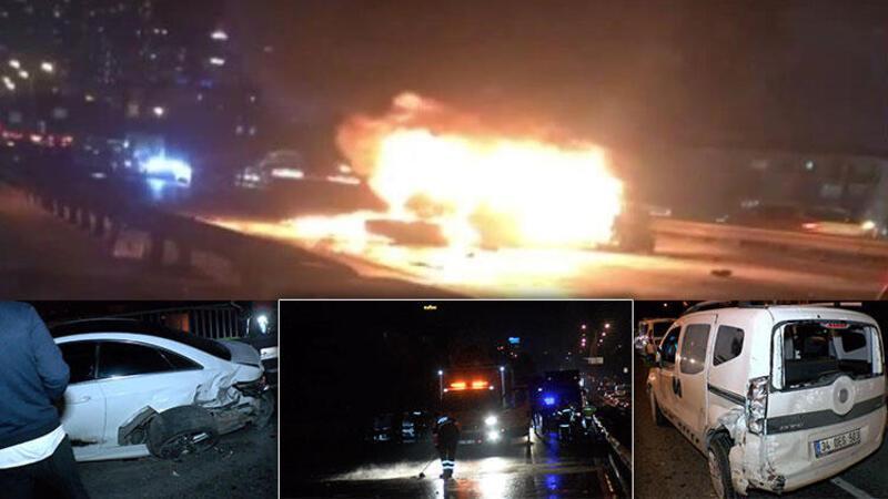 Esenyurt'ta zincirleme kaza: Otomobil yandı
