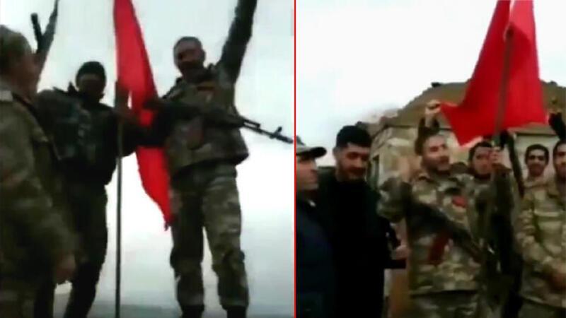 Azerbaycan ordusu Türk bayrağını Karabağ'a dikti