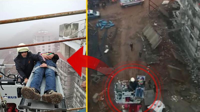 35 metre yükseklikteki vinçte mahsur kalan yaralı operatörü, itfaiye kurtardı