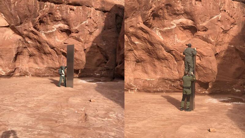 ABD'de ıssız bir arazide dikili bulunan metal monolit kafaları karıştırdı