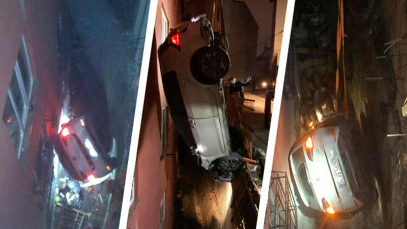 Son dakika haber... Kağıthane'de kontrolden çıkan araba apartman boşluğuna düştü