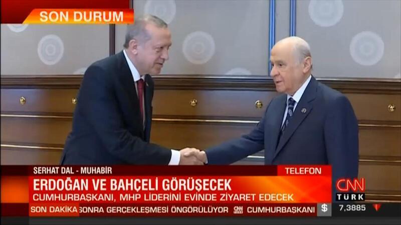 Cumhurbaşkanı Erdoğan'dan MHP lideri Bahçeli'ye nezaket ziyareti