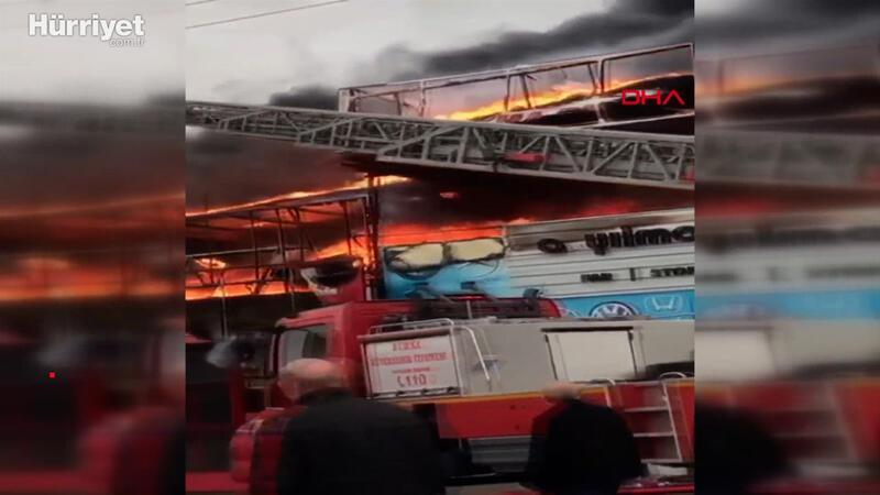 Bursa'da oto lastikçide çıkan yangın korkuttu