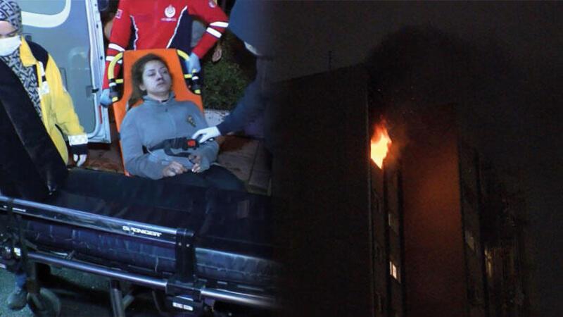 Sevgilisinin ellerini bantla bağlayarak dairede yangın çıkardı
